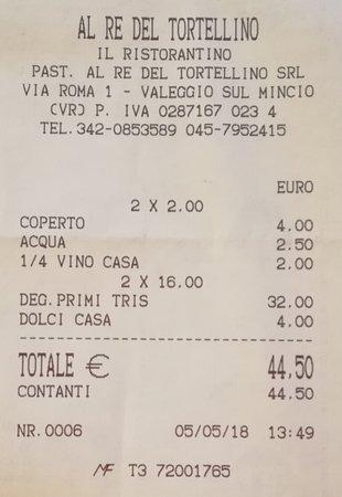 Al Re del Tortellino - Il Ristorantino: Il conto (onestissimo)