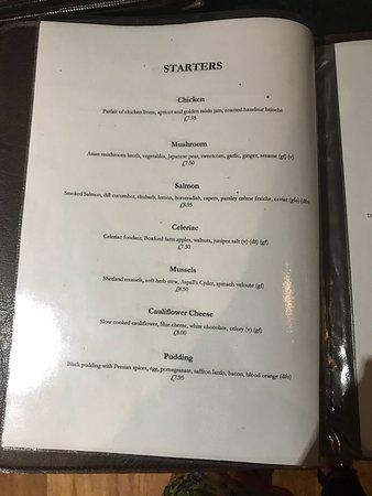 Leavenheath, UK: menu - starters