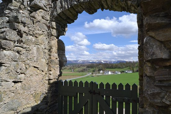 Ruthven Barracks: Looking east to the Cairngorms