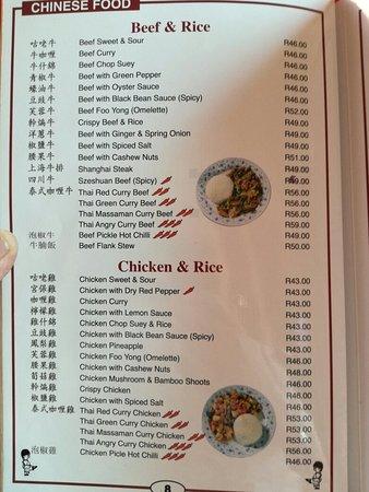 Menu Picture Of Kung Fu Kitchen Boksburg Tripadvisor