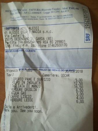 Trattoria Pizzeria Alessi : ricevuta