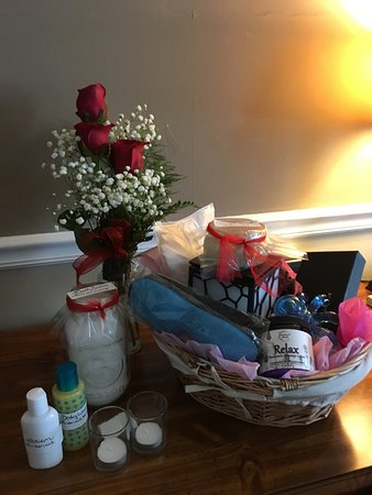Linden, TN: Spa basket she created from her ideas and stuff I sent ahead