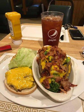 Ashland, OH: Loaded baked potato and a fresh ground cheeseburger!