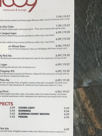 Silver Star, Canada : Drink menu
