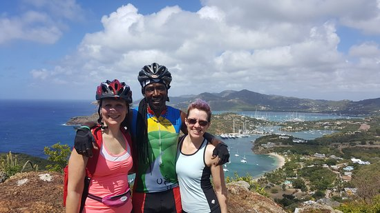 Cycling Tours Antigua: Eddie and the guest at the top enjoying the view