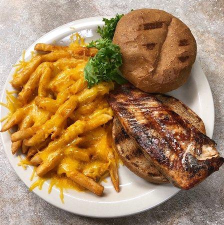 Chalmette, LA: Salmon sandwich with shredded cheddar cheese fries