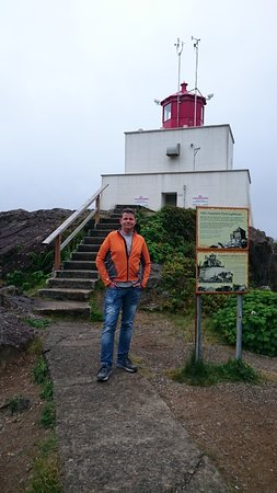 Amphitrite Point Lighthouse: In front of the Amphitrite Lighthouse