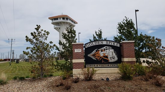 Golden Spike Tower and Visitor Center: Entrance sign and tower in background