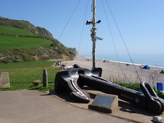 Branscombe, UK: The large anchor with a text