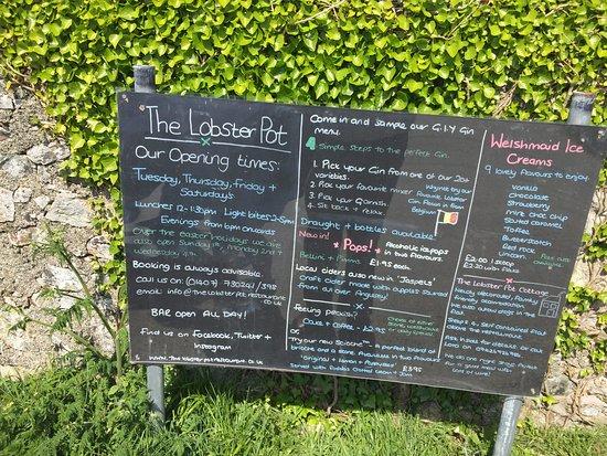 Rhydwyn, UK: Menue board
