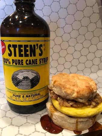 Abbeville, LA: Boudin Biscuit with Steen's Syrup