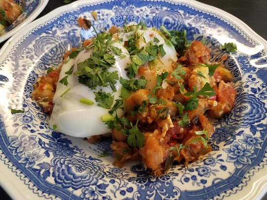 Bronze Antler Bed & Breakfast: Shakshuka, savory wonder with chickpeas and poached eggs, part of Always Hungry? menu