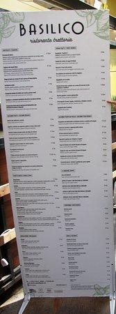 Basilico : Il menù in strada