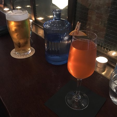 Pint of tiger and a disco balls cocktail