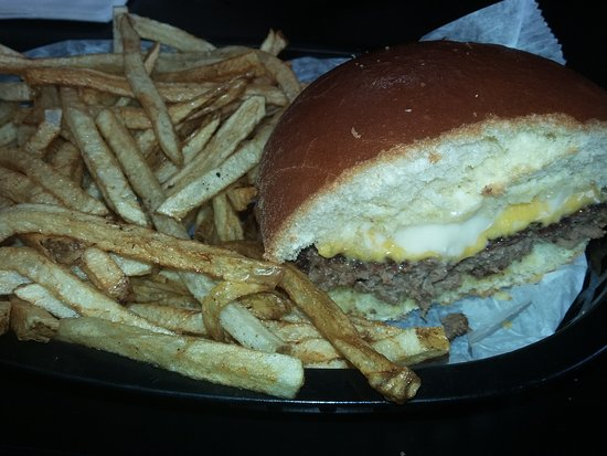 Strasburg, OH: Burger cut in half to show fries