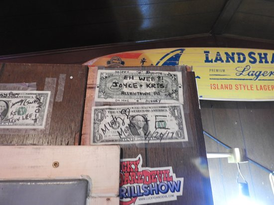 ‪‪Interior‬, ‪South Dakota‬: The inside is covered with dollar bills and folks' signaures. We added ours right by the door.‬