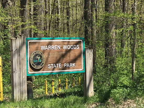 Three Oaks, MI: Entrance sign at Warren Woods State Park, MI