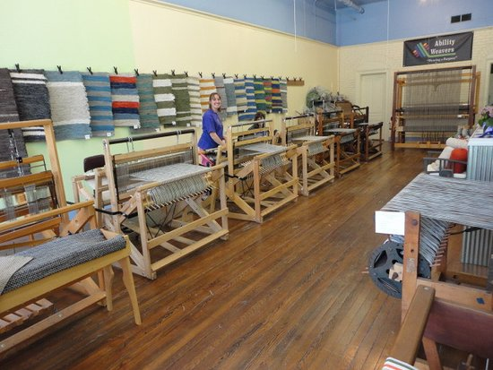 Lowell, MI: Easy to use floor looms and a comfortable studio make for a fun weaving time