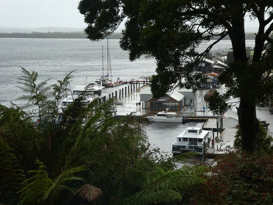 Strahan Village: NOT sweeping views of Macquarie Harbour