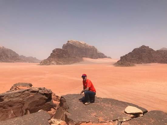 One Day Petra Trip from Eilat Israel: The top of a massive sand dune in Wadi Rum
