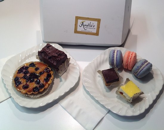Amelie's French Bakery: Mixed berry tart, chocolate layered torte, macaroons (lavender-lemon & strawberry), & petit-four