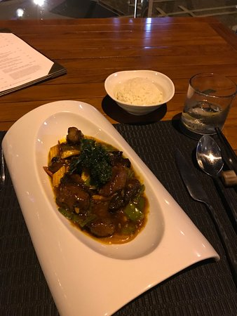 Beef - very well presented and cooked .. just right size portions