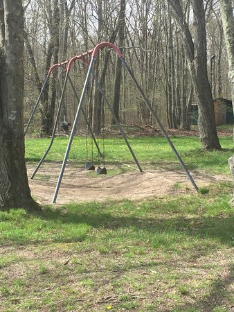 Old Saybrook, CT : Swings. The too-high baby swing is at far left. One swing is missing.