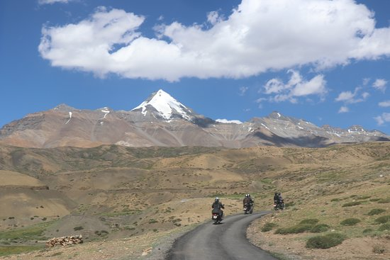 Manali Tehsil, India: Riding in Spiti valley with Chao Chao Kang Nilda peak in foreground (ride with mOtOsAgA)