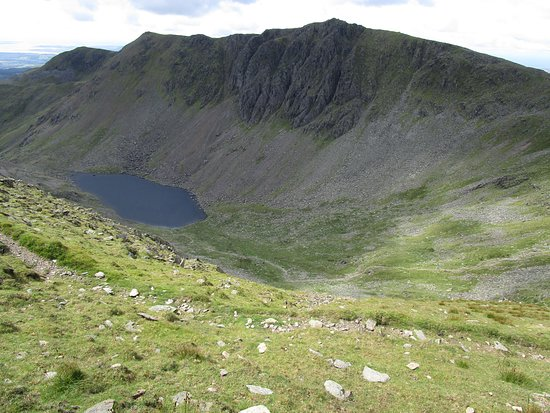 Coniston, UK: Goat water at the foot of Dow Crag from Coniston Old Man