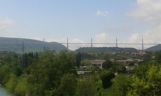 View of viaduct from Millau town Picture of Millau Viaduct Millau