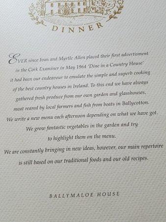 Shanagarry, Ireland: Dinner