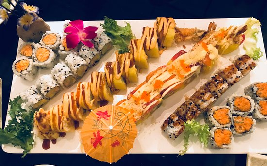 Macedonia, OH: Six different sushis. Tiger Roll and Hawaiin roll in the middle.