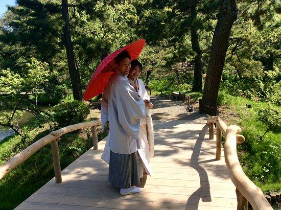 Sankeien Gardens: Young couple having photos taken.