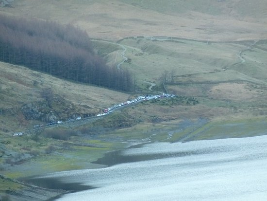 Haweswater Reservoir: Cars parked on access road