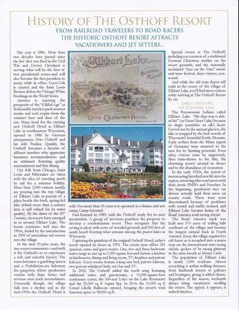 Elkhart Lake, Висконсин: History of Osthoff