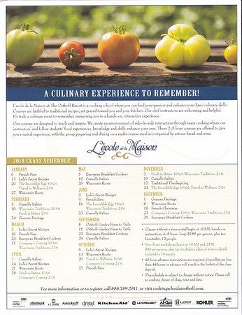 Elkhart Lake, Висконсин: Example of Culinary School Lessons