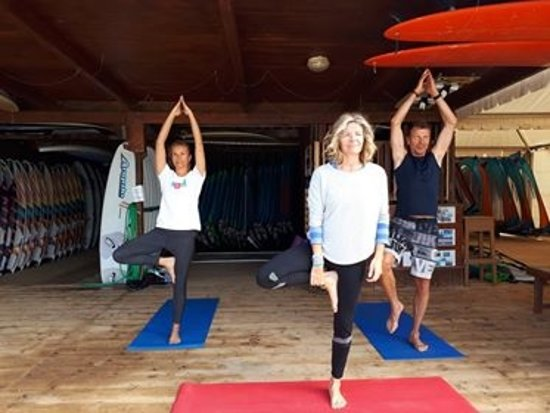 Yoga For Everyone: Yoga on the deck with ocean view at Angulo Surf Centre