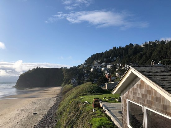 Oceanside, OR: View from the Viewing deck to the North