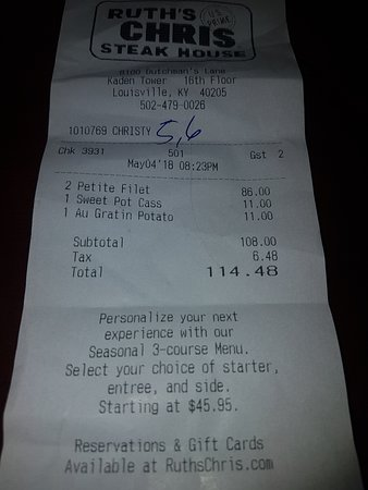 Ruth's Chris Steak House: Please note time stamp, didn't leave until almost 11:00 PM