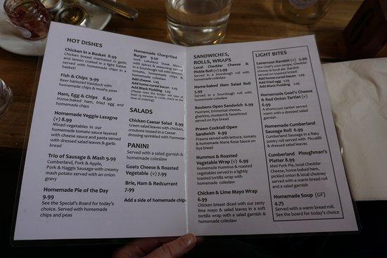 Lanercost, UK: the menu