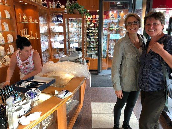 Brno, Czech Republic: buying Czech crystal with Helena