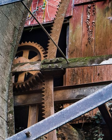 Belvidere, TN: Ring gear and pinion gear on the 1906 Fitz water wheel
