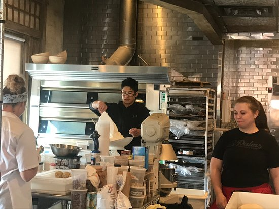3 Palms Pizzeria & Bakery: Pastries Being Made, Work Area
