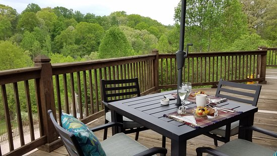 Shirley's Bed and Breakfast : A lovely breakfast on the deck overlooking woods and pool.