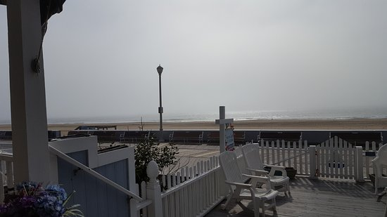 An Inn on the Ocean: View from front porch of fog on the ocean at Inn on the Ocean, Ocean City, MD May 2018