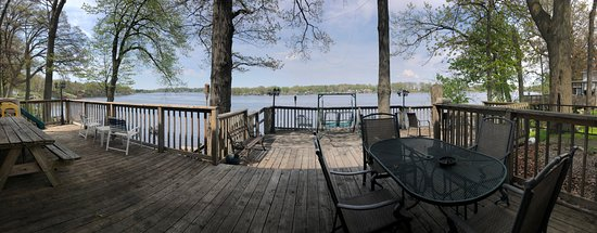 Monticello, IN: Deck overlooking Lake Shafer