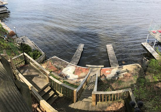 Monticello, IN: Looking down off deck at Lake Shafer. Docks available for boats and fishing.