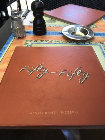 Fifty-Fifty: Restaurant table and menu