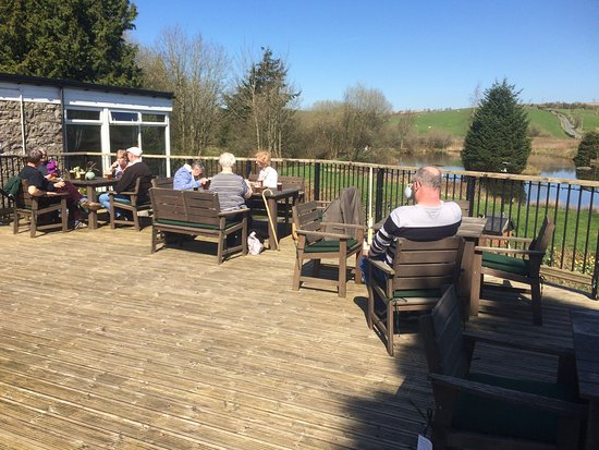 Rhydlydan, UK: on the terrace enjoying the sunshine and mountain view