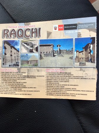 Parque Arqueologico De Raqchi: The ticket valid for a day